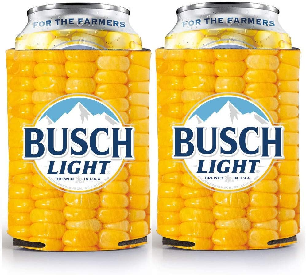 Busch Light Beer 'For the Farmers' CORN COB Can Cooler - 2 Pack Coolie