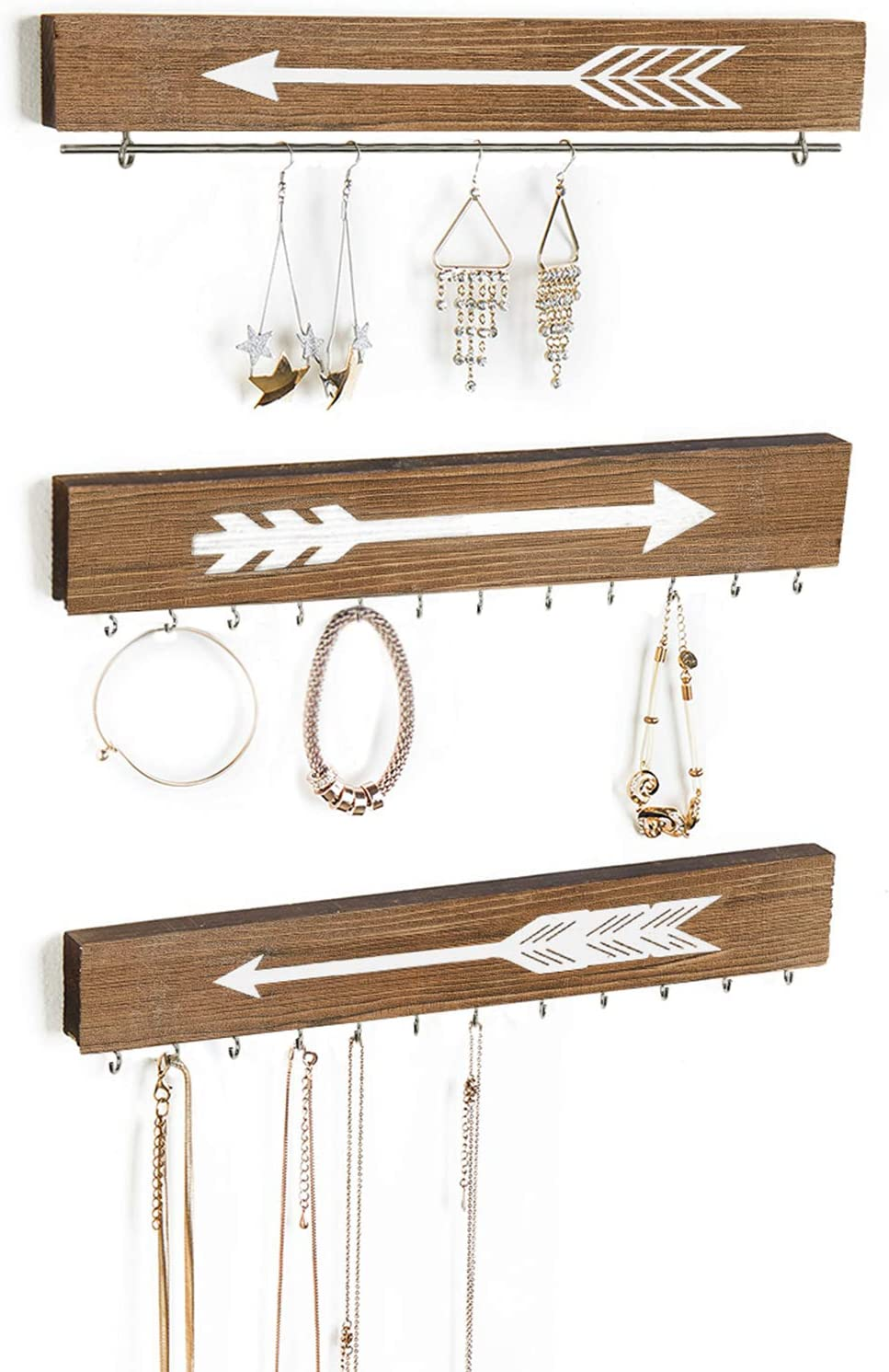 CHICVITA Farmhouse Wood Jewelry Organizer Wall Mounted Hanging Rustic Necklace Holder Earring Bar Display Rack with Arrow Decor for Girl Woman, Set of 3