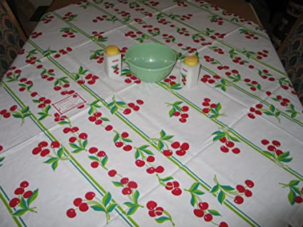 Cherries Plain U0026 Fancy Vintage Style Tablecloth