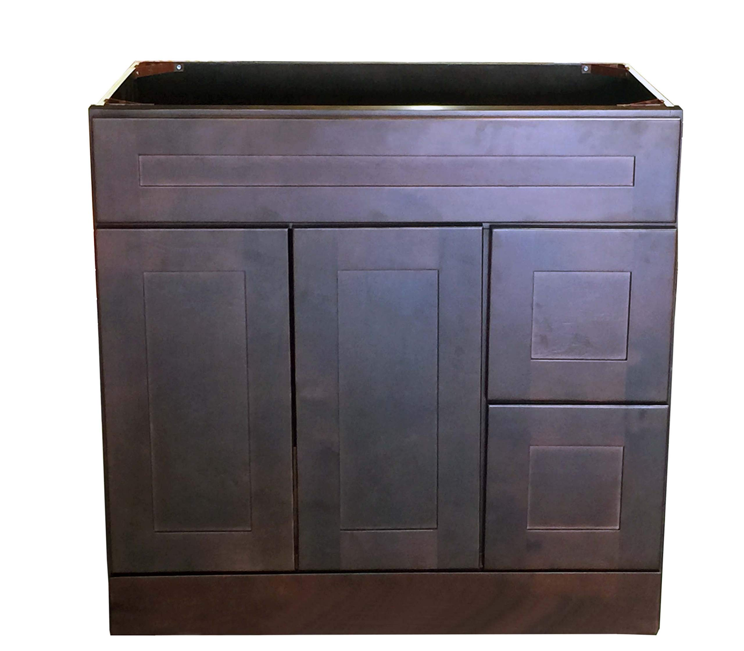 "New Espreso shaker Single-sink Bathroom Vanity Base Cabinet 36"" Wide x 21"" Deep ES-V3621DL/R - 36"" W x 21"" D x 34.5"" H Assembly needed Solid wood with hardwood plywood construction,Made of wood - bathroom-vanities, bathroom-fixtures-hardware, bathroom - 71u5FjDQUmL -"