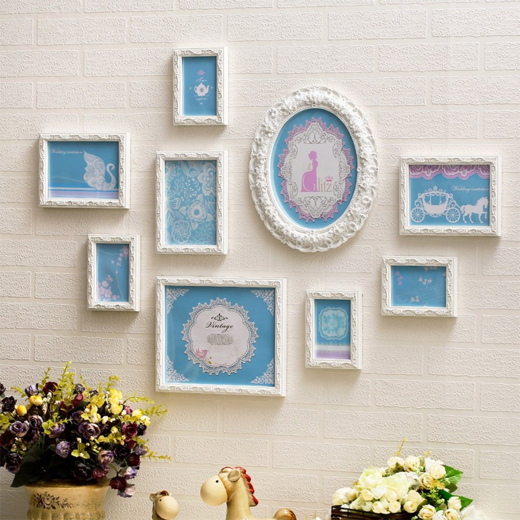 European luxury photo wall solid wood carved frame combination accessories blue ( Color : White )