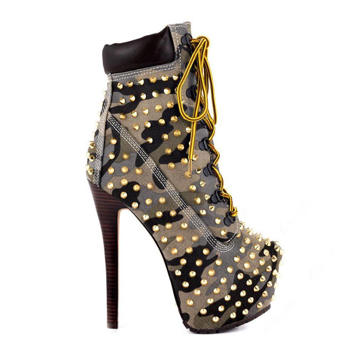 56e953060fd ... onlymaker Women s Women s Women s Rivet Studded Platform High Heel  Pointed Toe Lace up Ankle Boots B013FLX6GA ...