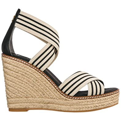 96153587f Tory Burch Women's Frieda Black White Strappy Woven Espadrilles Wedge  Platforms (6 M ...