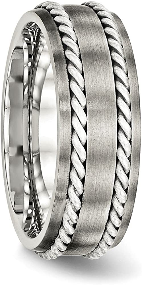 Diamond2Deal Stainless Steel Brushed Silver Double Twist Inlay Ring Fine Jewelry Ideal Gifts for Women