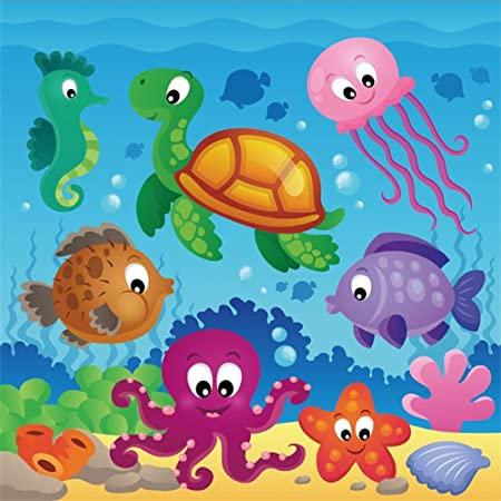 Octopus 8x10 FT Photo Backdrops,Octopus Pattern Illustration Underwater World Wild Nature Themed Artwork Print Background for Child Baby Shower Photo Vinyl Studio Prop Photobooth Photoshoot
