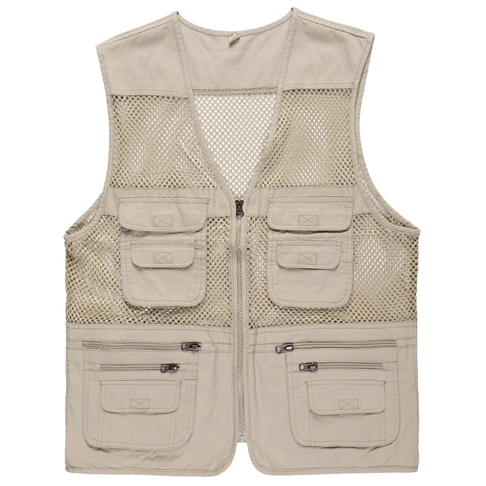 GladiolusA Men's Outdoor Multifunction Multi-Pockets Sport Mesh Vest Sleeveless Jacket Waistcoat Gilet Zip up