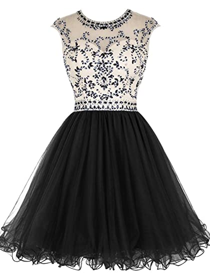 Caissen Womens Short Beaded Sheer Crew Neck Rhinestones Tulle Prom Dress Open Back with Zipper Party