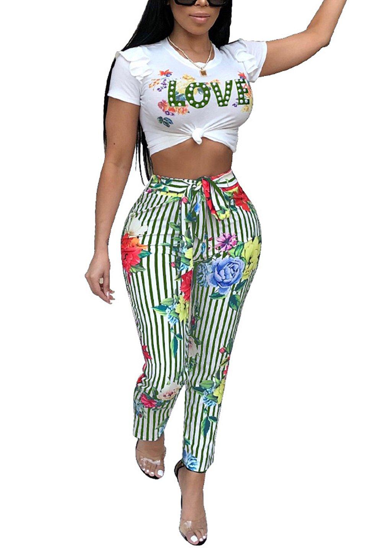 DingAng Women Floral Short Sleeve Crop Top Letter Print Long Pants 2 Piece Outfits Jumpsuit with Belt