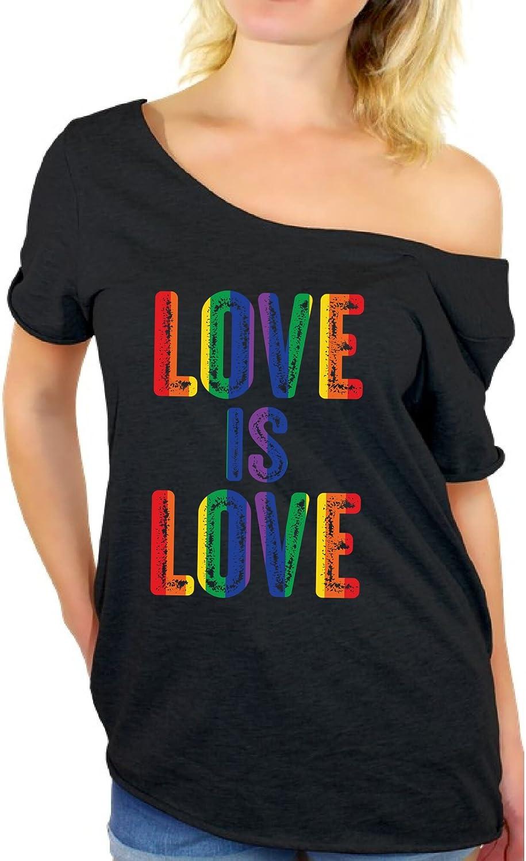 Awkward Styles Love is Love Off Shoulder Shirt Women's Gay Pride Baggy Shirt