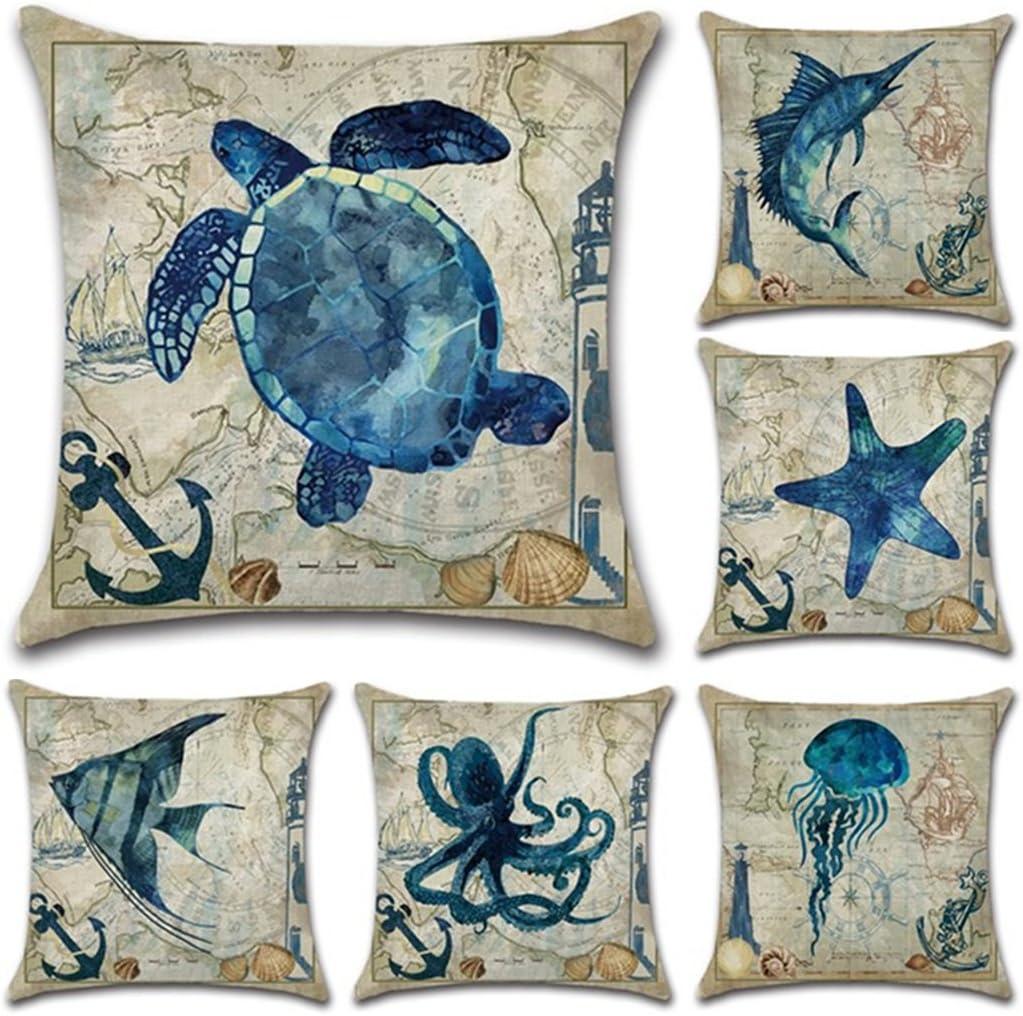 Juego de 6 fundas de almohada de lino y algodón estilo mediterráneo, funda de cojín cuadrada decorativa de 45,7 x 45,7 cm (sólo funda, sin relleno).