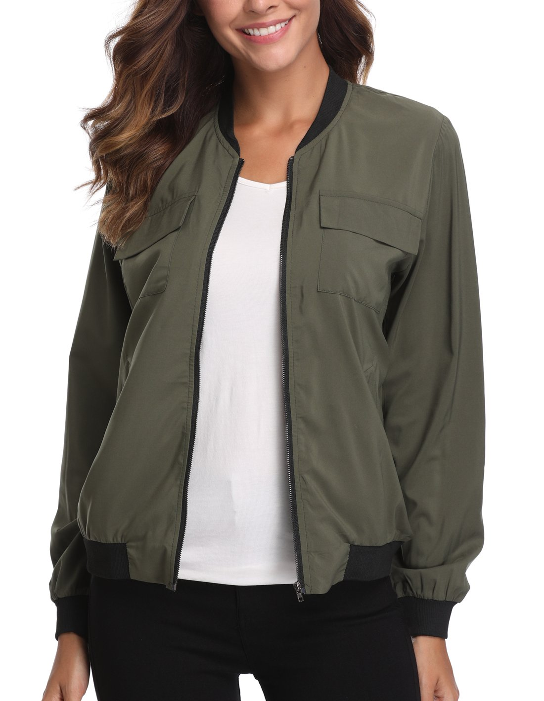MISS MOLY Jacket for Women Lightweight Zip up Coat Rib Collar Windbreaker Bomber Outwear