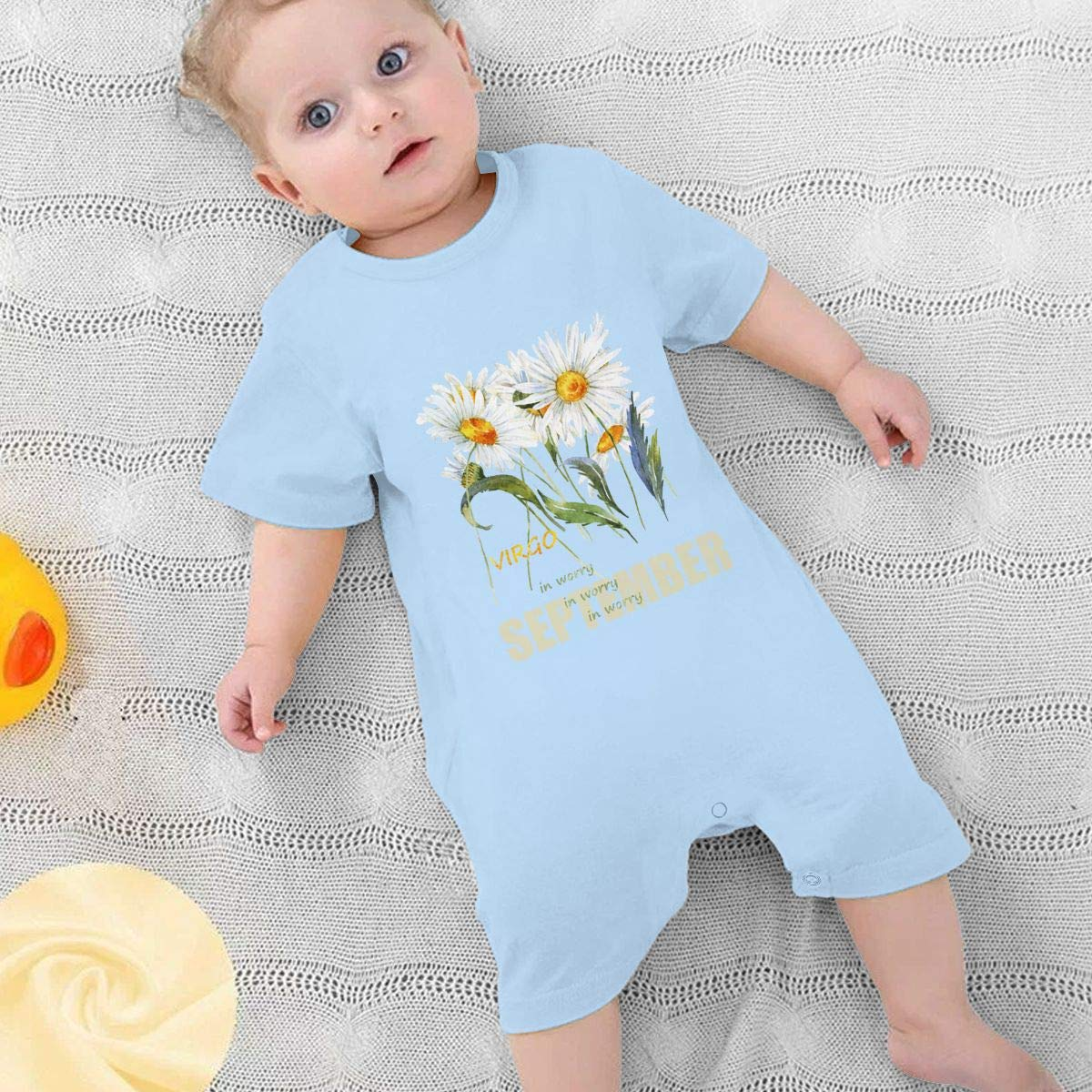 Baby Boys Girls Short Sleeve Jumpsuit Virgo Aster Flower Cotton Romper