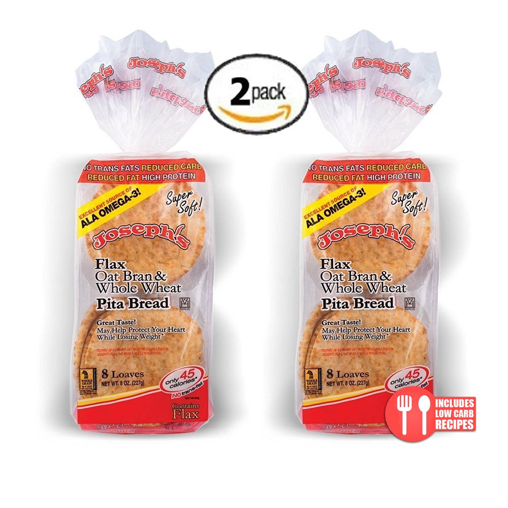 2 Pack Joseph's Flax, Oat Bran and Whole Wheat Flour MINI Pita Bread (Low Carb