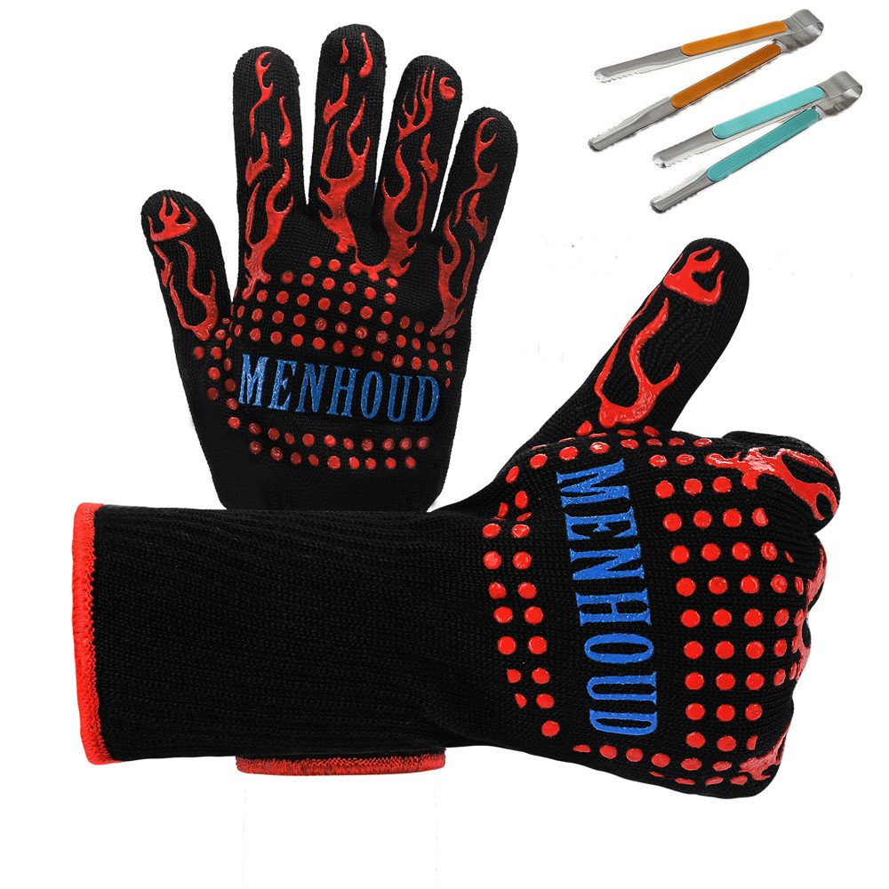 Holulo BBQ Grill Gloves, 932°F Heat Resistant Grilling Gloves, Barbecue Gloves for Smoker, Extremely Cooking Oven Mitts, Silicone Insulated 1 Pair+2PC Barbecue clip (fire flame)