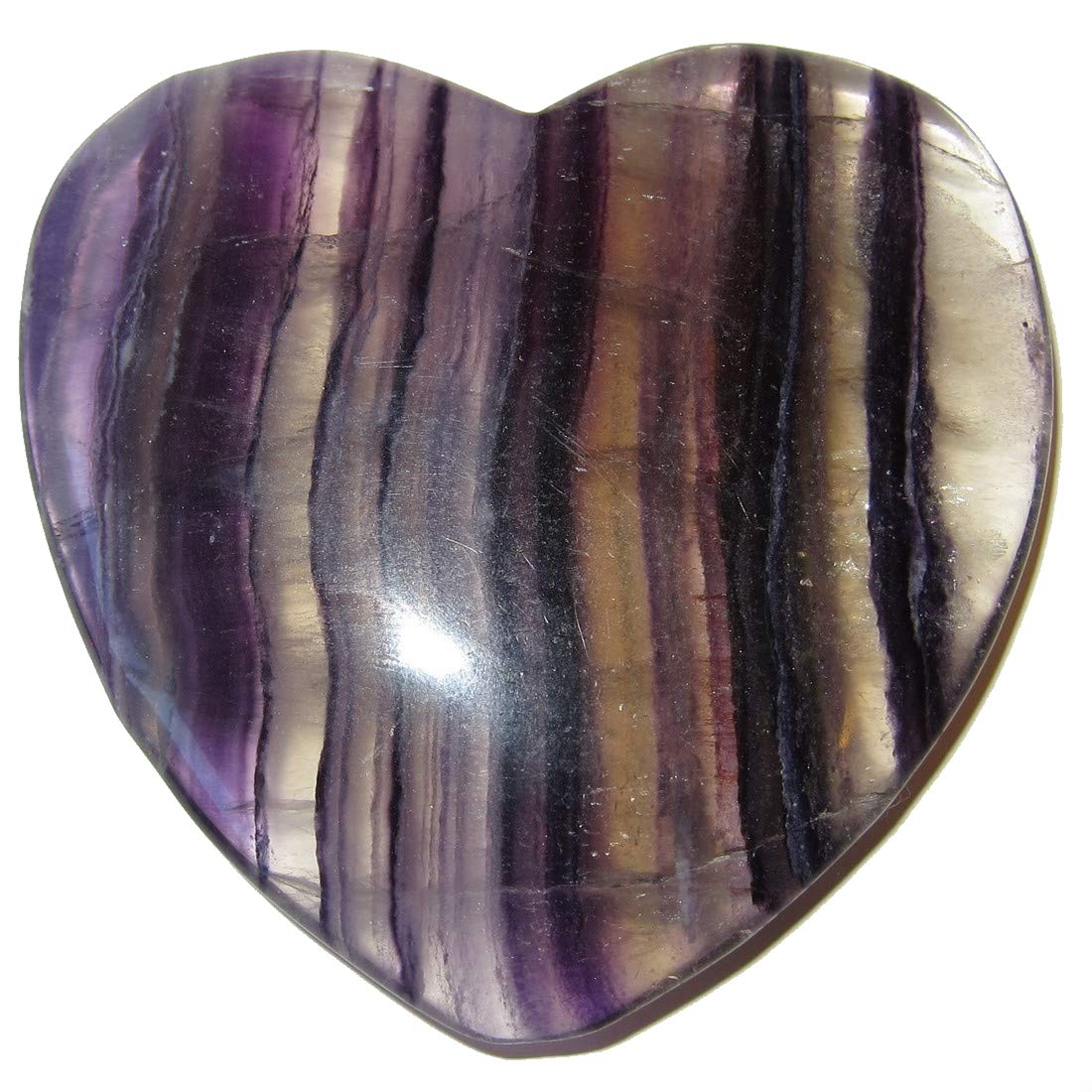 SatinCrystals Fluorite Purple Heart Premium Clear Striped Crystal Bravery Loyalty Love Crystal Healing Stone P01 3.5 Inches Satin Crystals fluoritepurpleheart01