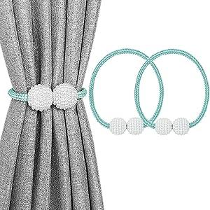 Melaluxe 2 Pack Magnetic Curtain Tiebacks, Decorative Curtain Holdbacks for Window Décor (Teal)