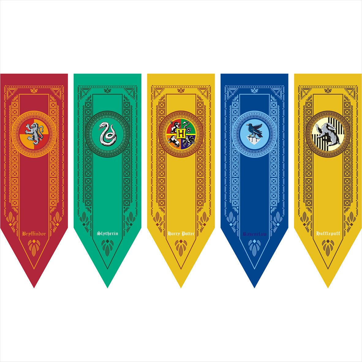 Harry Potter Hogwarts Gryffindor Slytherin Hufflepuff Ravenclaw Collection House Banner Wall Decoration Indoor Outdoor Party Holiday Decoration Flag (5pcs, 18x59inch)