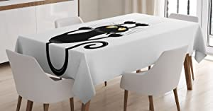 Ambesonne Funny Tablecloth, Naughty Cat Scratching The Wall with His Paws Grumpy Feline Humorous Kitten Graphic, Dining Room Kitchen Rectangular Table Cover, 60