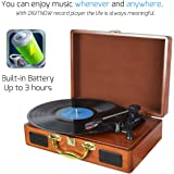 DIGITNOW! Portable Suitcase LP Record Players for vinyl with Built-in Speakers Rechargeable Turntable with PC recording function, USB/SD Recorder, Headphone Jack, RCA line out, Wood