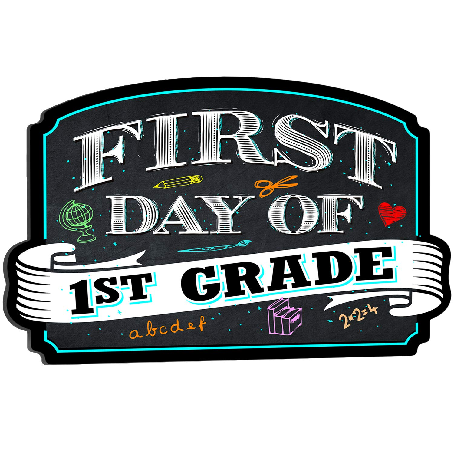 BigTime Signs First Day of School Sign | Chalkboard Style | 1st Grade Plaque | Back to School Sign | Use as Photo Prop for a Boy or Girl | 10 inches x 15.5 inches (1st Grade)