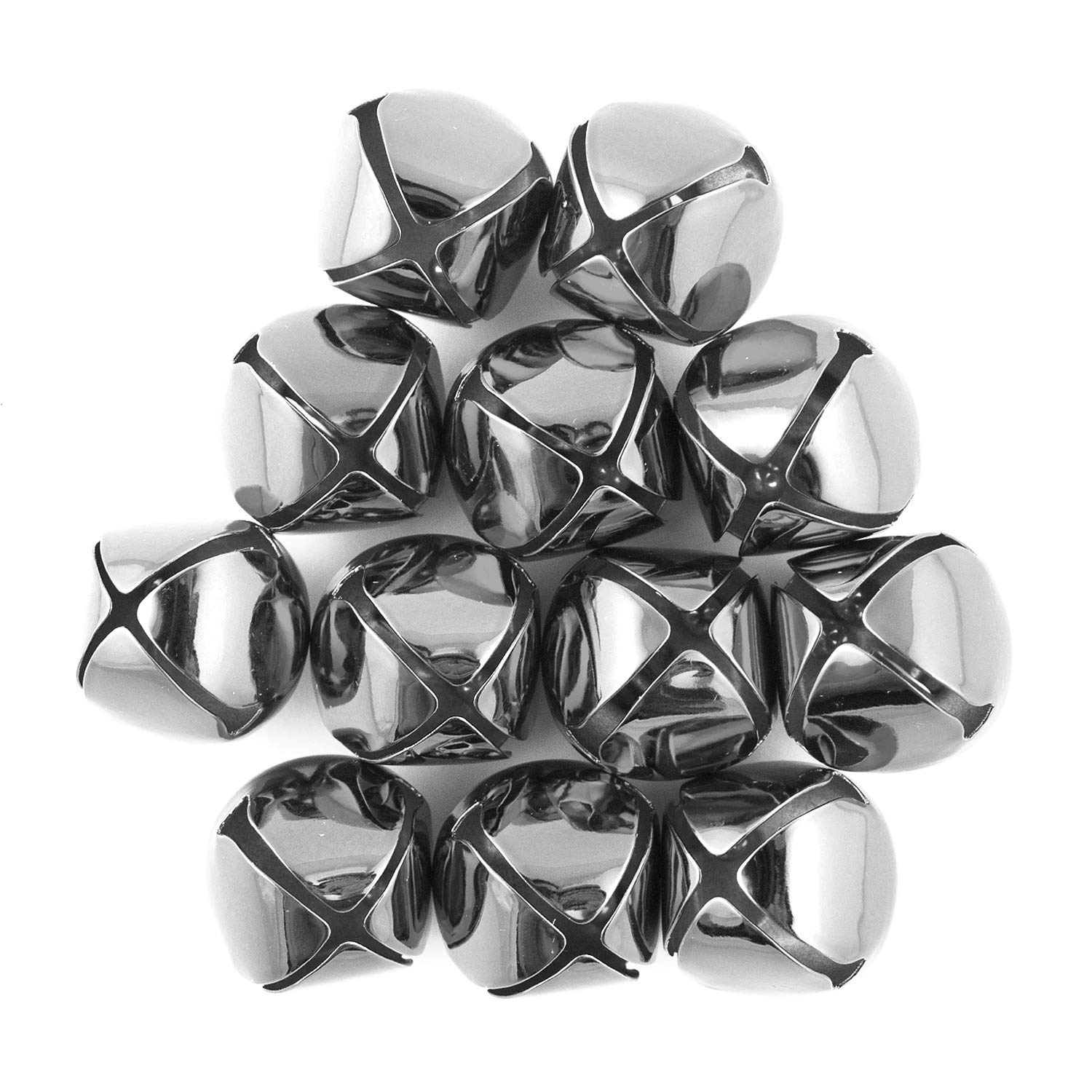 1.5 Inch 36mm Extra Large Giant Jumbo Craft Silver Jingle Bells Bulk 100 Pieces by Art Cove