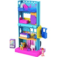 Polly Pocket Pollyville Hotel Pollyville Hotel with 4 Floors of Fun, Micro Polly & Lila Dolls, 1 Sticker Sheet & 5 Micro…