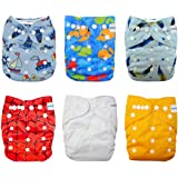 Babygoal Baby Cloth Diapers, One Size Adjustable Reusable Pocket Nappy, Neutral Color, 6pcs + 6 Inserts+6pcs Bamboo Wipes 6FN05