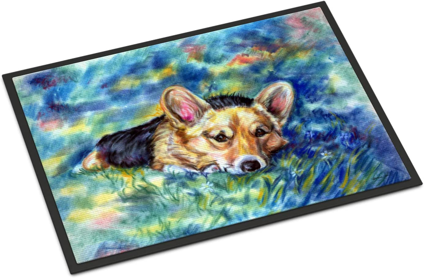 Caroline s Treasures 7409JMAT Corgi Tuckered Out Indoor or Outdoor Mat 24×36, 24H X 36W, Multicolor