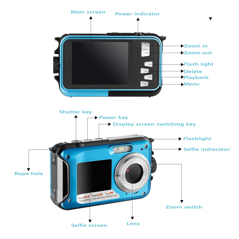 Waterproof Digital Camera Full HD 1080P Underwater Camera 24MP Video Recorder Camcorder Point and Shoot Camera Selfie Dual Screen Waterproof Camera for Snorkeling by HOCOMO (Image #2)