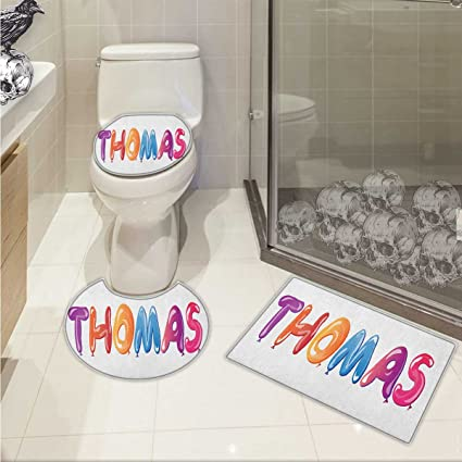 Lacencn Thomas 3 Piece Toilet Cover Set Colorful Common American Boy Name  With Religious Connection Festive