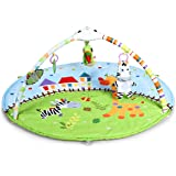 BABY JOY Baby 5-in-1 Farm Exploration Activity Gym Play Mat, Infants Crawling Mat with Music & LED Light, 5 Hanging…