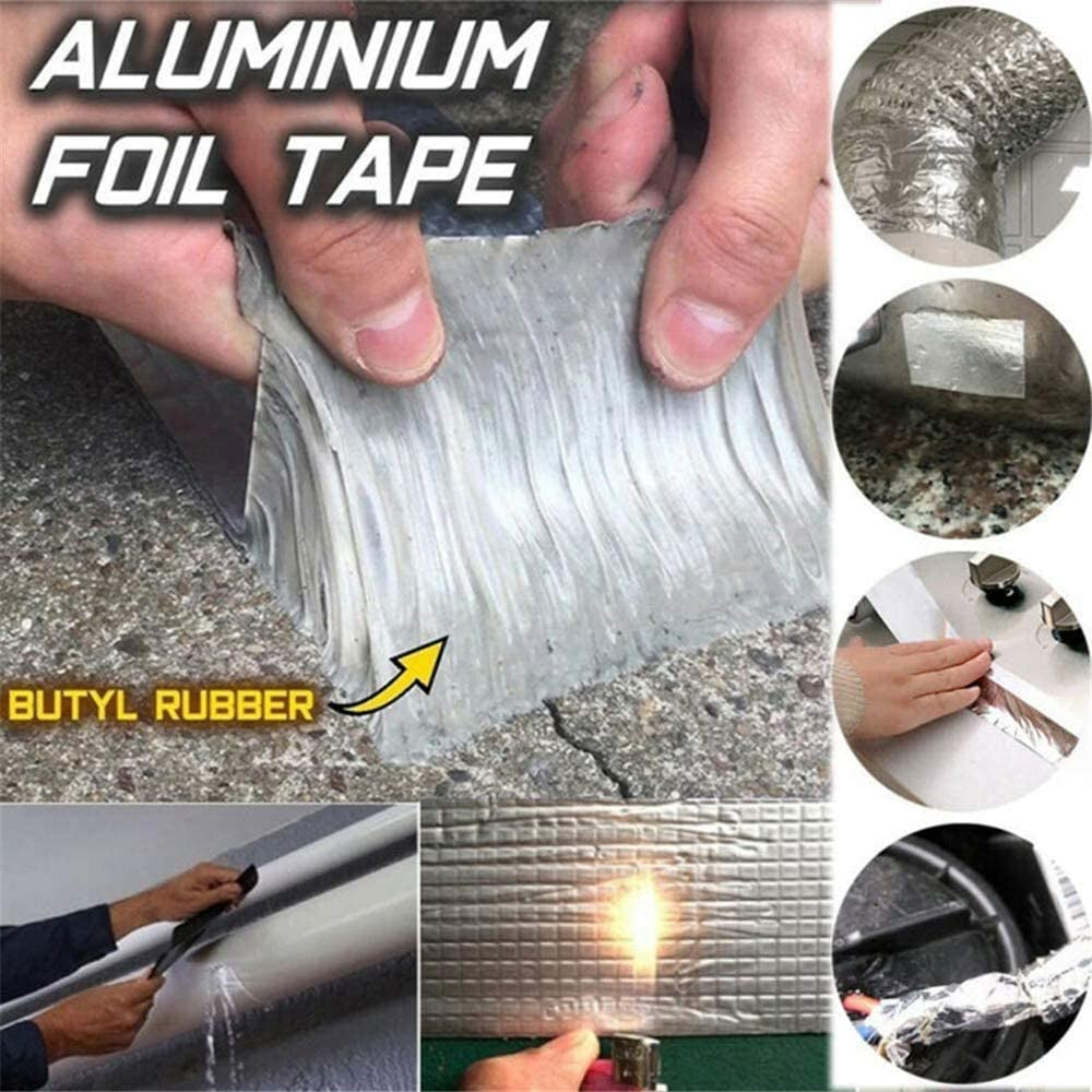 etc. roturas ventanas de banco Cinta adhesiva resistente al agua GAODA Negro cinta m/ágica de reparaci/ón para la reparaci/ón de techos de caucho butilo y aluminio