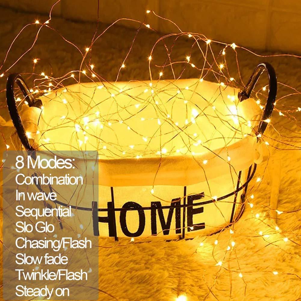 MOVEONSTEP Stringa Luminosa 200 Led 22M in Rame Impermeabile IP65 8 Modalità Di Luce Natale Bianco Caldo Decorazione Interna ed Esterna (200LED)