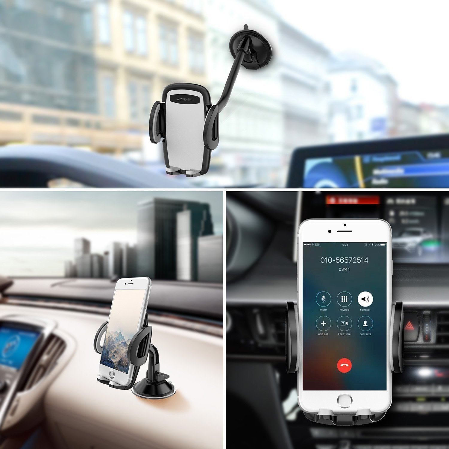 Cell Phone Car Mount Air Vent Holder with Dashboard Mount and Windshield Mount for Cell Phones Phone Holder for Car WizGear 3-in-1 Universal Car Phone Mount
