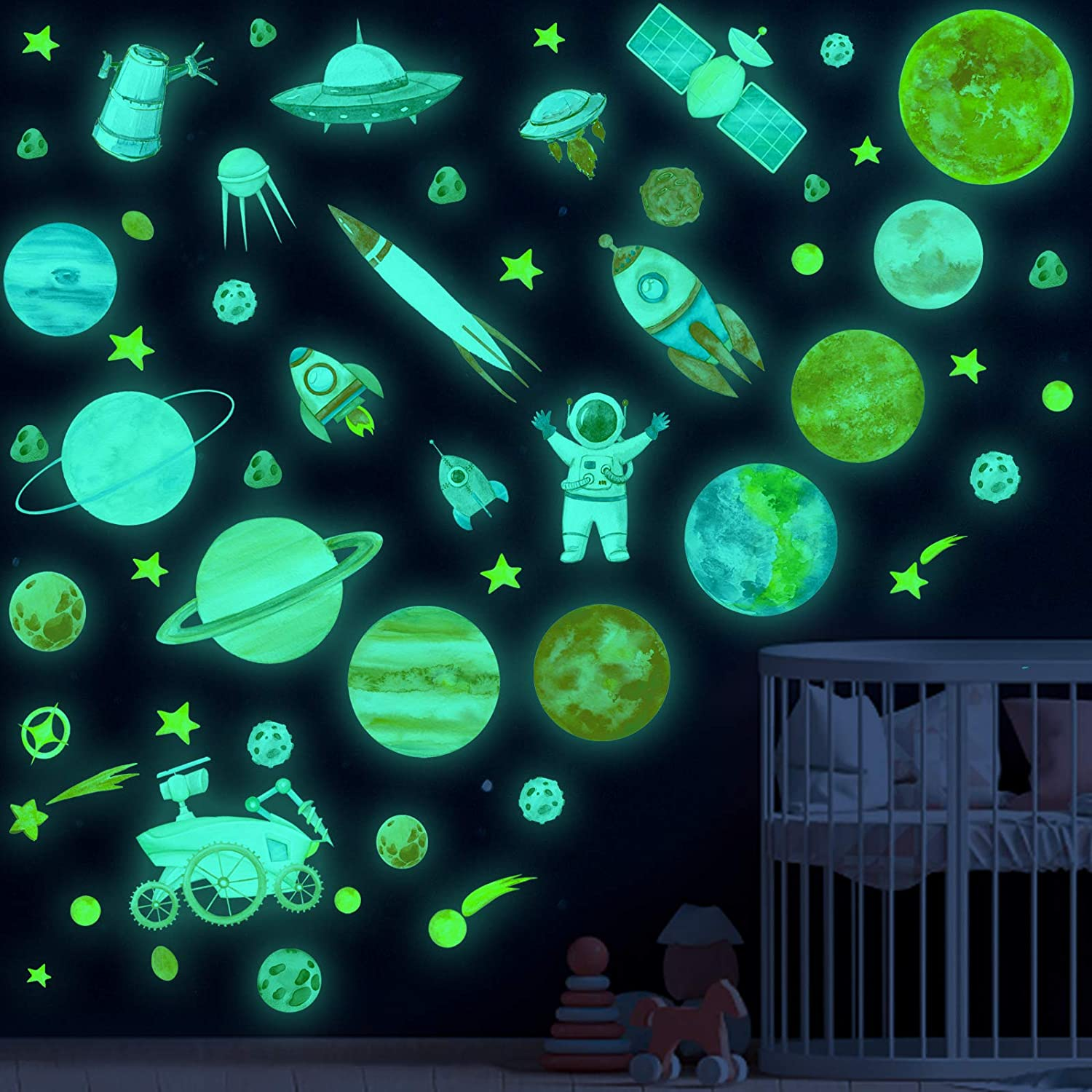 Glow in The Dark Stars and Planet Wall Stickers,Galaxy Astronaut Rocket Spacecraft Alien Decoration,Planet Wall Decals,Bright Solar System Wall Stickers for Kids, lanets Spaceship Stars Decal Decor