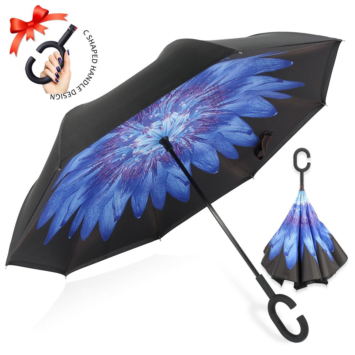 逆転傘 逆さ傘 逆折り式傘 自立傘 長傘 手離れC型手元 耐風 撥水加工 晴雨兼用 ビジネス用 車用 UVカット遮光遮熱 傘ケース付き B078X7XSZK 青い菊 青い菊