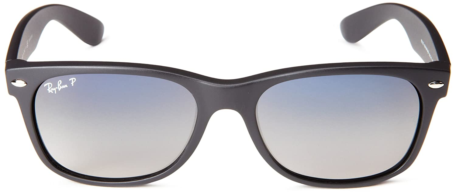 ray ban unisex rb2132 black wayfarer sunglasses  amazon: ray ban new wayfarer matte black frame polar blue grad. grey lenses 55mm polarized: ray ban: clothing