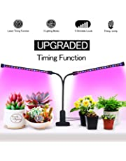UPGRADED Timing Function Auto Off Dual head Grow light 36LED 3 working modes 5 Dimmable Levels Full spectrum for Indoor Plants with 360 Degree Adjustable Plant light,Grow lights for indoor plants(Timing Function Auto Off)