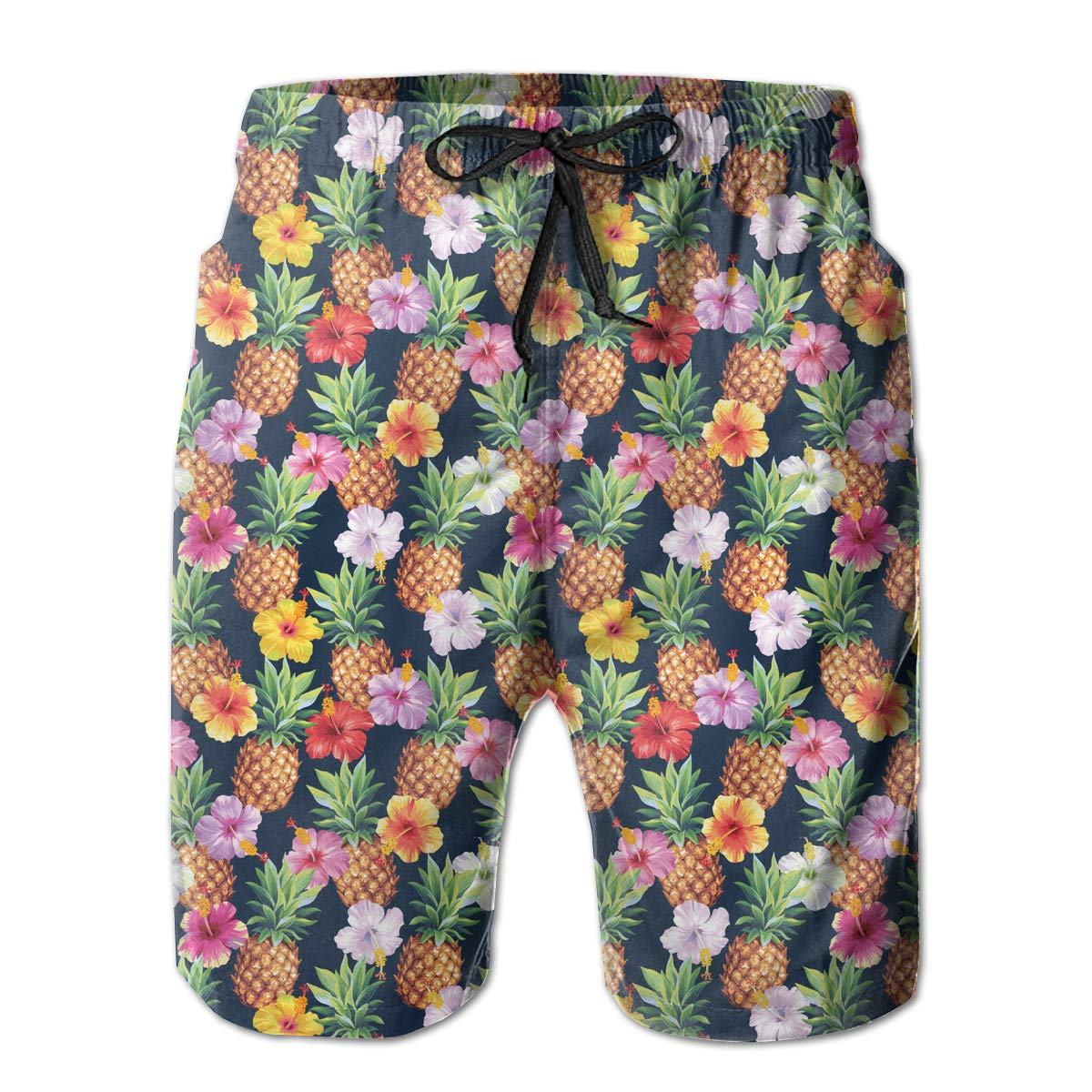 Xk7@KU Mens Quick Dry Beach Shorts Polyester Pineapples and Hibiscus Flowers Pattern Swimsuit with Pockets