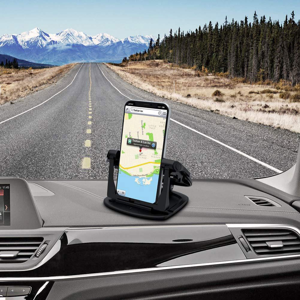 Cell Phone Holder for Car soulkoo CA21 Black Non-Slip Dash Pad Car Phone Mount GPS Holder for iPhone 7 Plus 8 Plus X Samsung Galaxy Note 8 S8 Plus S7 and 3-7 inch Smartphones