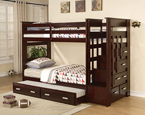 acme allentown twintwin bunk bed with storage drawers and trundle espresso finish