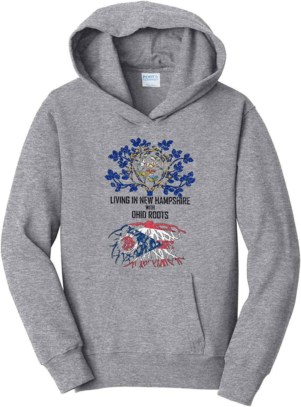 Tenacitee Girls Living in New Hampshire with Ohio Roots Hooded Sweatshirt