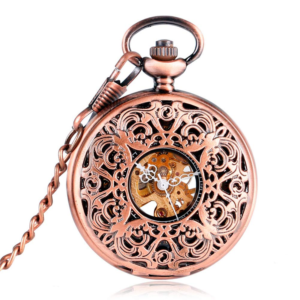 Mechanical Pocket Watches, Engraved Carving Pocket Watches for Men, Mechanical Hand Wind Pocket Watches Gift