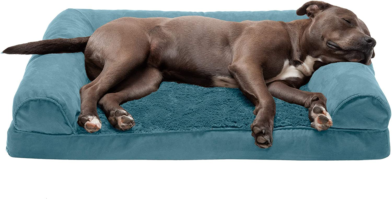 Furhaven Pet Dog Bed - Orthopedic Ultra Plush Faux Fur and Suede Traditional Sofa-Style Living Room Couch Pet Bed with Removable Cover for Dogs and Cats, Deep Pool, Large : Pet Supplies