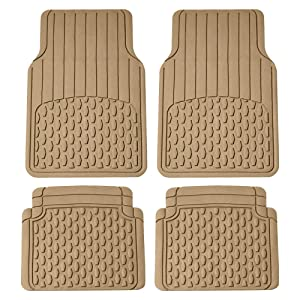 FH Group F11308 All Weather Vinyl Floor Mats (Full Set Trimmable Custom Fit), Beige Color