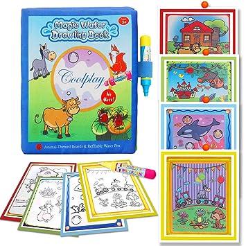 BBLIKE Agua Dibujo Pintura, Agua Doodle Libro mágicas, Libro Mágico del Dibujo del Agua Libro 4 bolígrafos para niño ,Ideal Navidad Cumpleaños ...