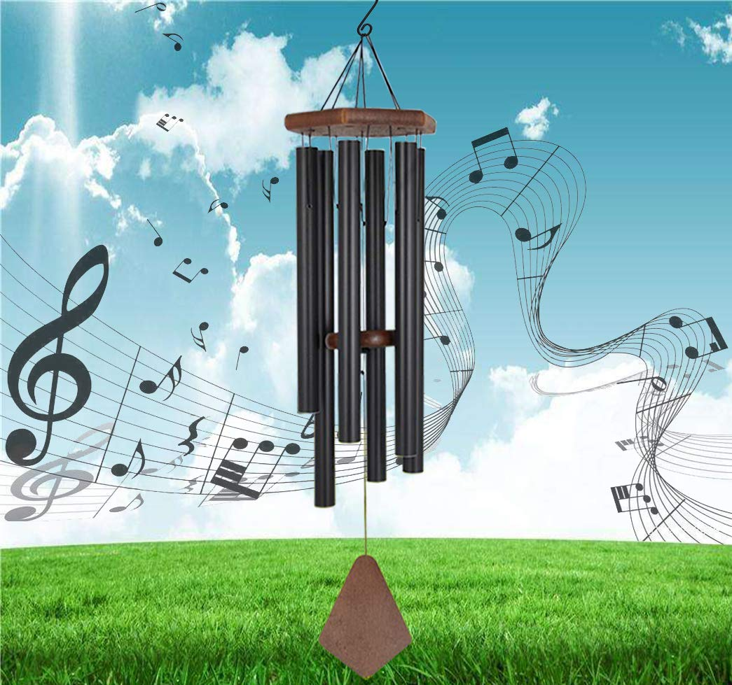 Reliancer Memorial Wind Chime Outdoor Large Deep Tone 31'' Amazing Grace Wind-Chime with 6 Aluminum Tubes Elegant Melodic Sympathy Chimes Windbell Home&Garden Decor Patio Balcony Gift (Black)