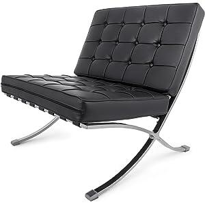 Amazon.com: Debvil Barcelona Style Lounge Chair and Ottoman ...