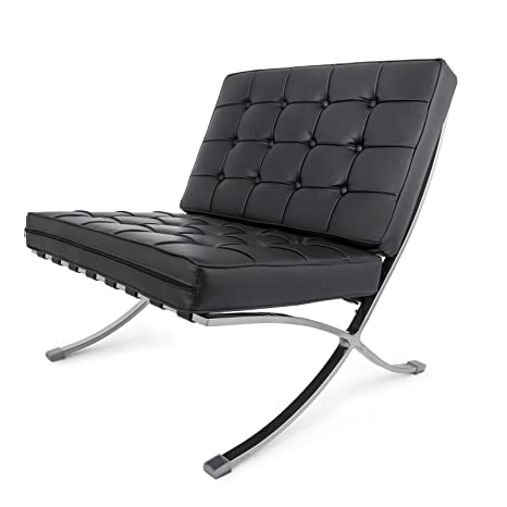 Fantastic Happybuy Mid Century Modern Classic Barcelona Style Lounge Chair Pu Leather Comfortable Cushioned Luxury Replica Leisure Chaise Lounge Chair For Ncnpc Chair Design For Home Ncnpcorg
