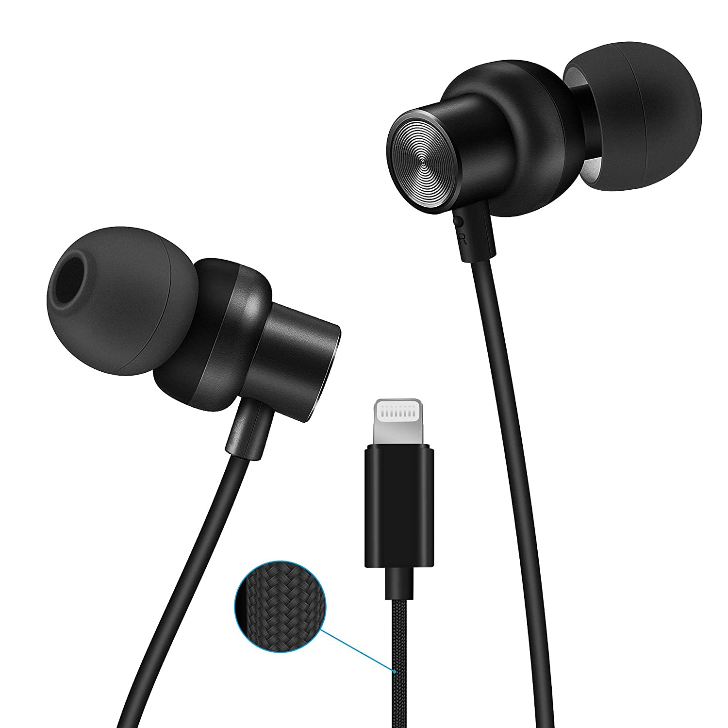 PALOVUE Earflow in-Ear Lightning Headphone Magnetic Earphone MFi Certified Earbuds with Microphone Controller for iPhone X iPhone 8 P iPhone 7 P Classic Black